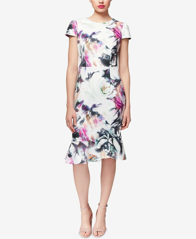 7d18a53f Details about NEW Betsey Johnson Women's Floral Scuba Midi Dress With  Ruffle Hem Size 10