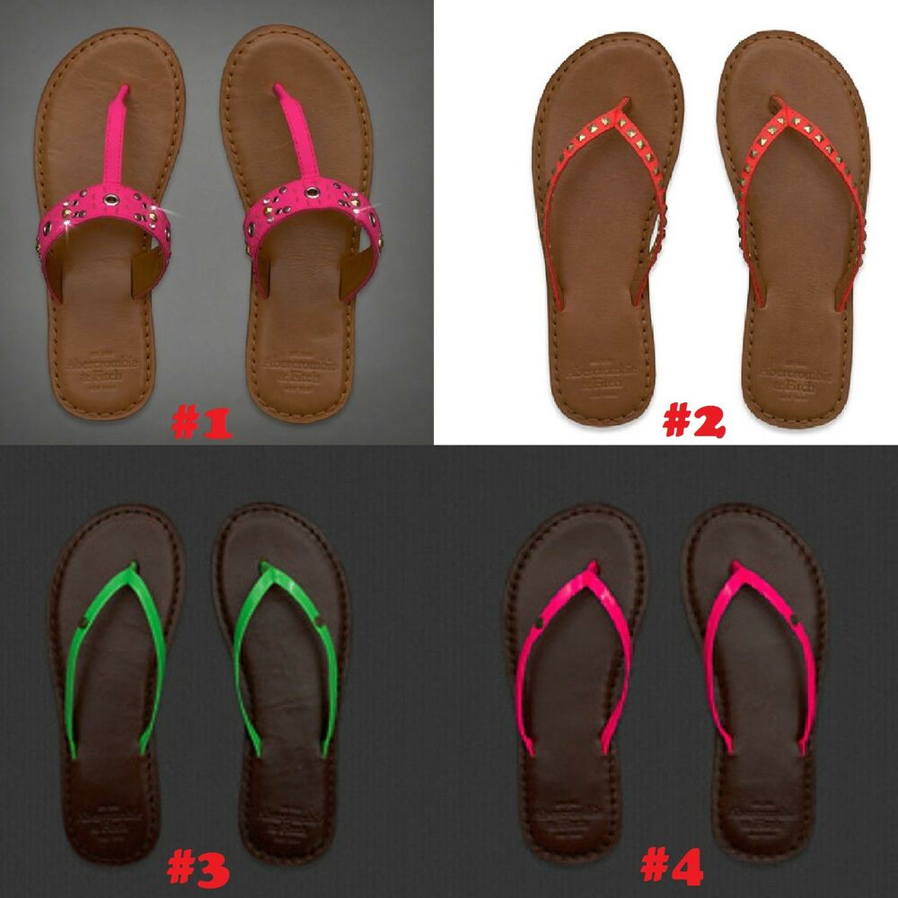 203fd4db68ba3 Details about NWT Abercrombie Fitch Hollister Womens Leather Sandals Flip  Flops Pink XSML