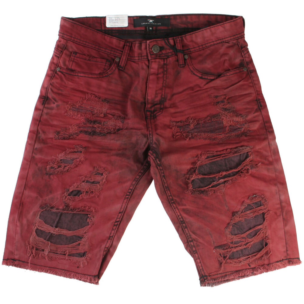 Details about Jordan Craig Legacy Edition Mens J2127S-WN Red Wine Ripped  Denim Shorts Size 32 8fa0f0d987f