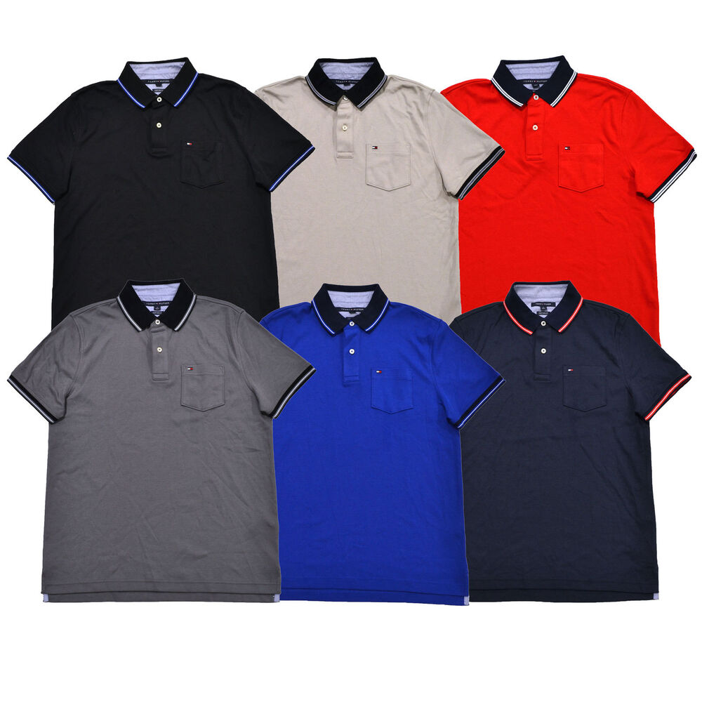 tommy hilfiger mens polo shirt custom fit interlock top