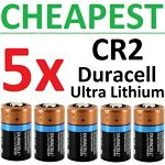 5 NEW Duracell Ultra Lithium CR2 Batteries 3V (DLCR2, CR17355, ELCR2) Exp 2024++