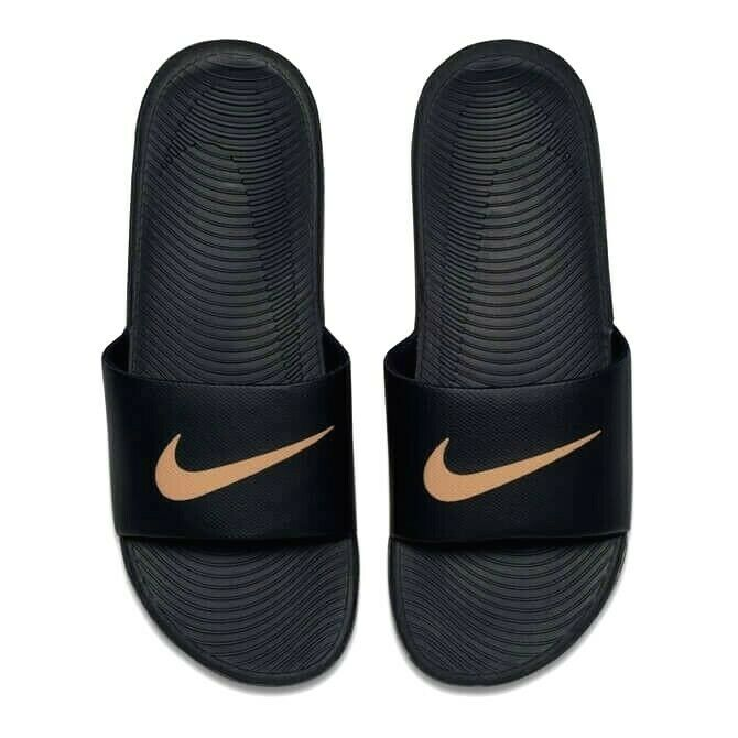 3d5c8bdff9 Details about Nike Kawa Slide Slider Slip On Flip Flop Pool Sandals Junior  / Womens Black Gold