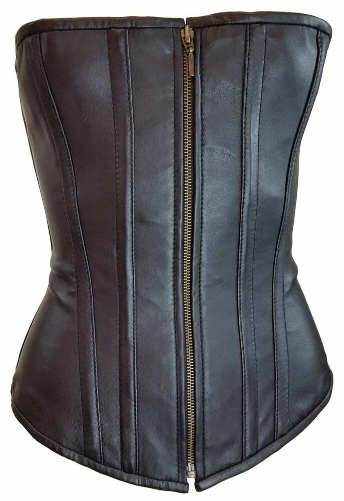 23341f6149a Details about Vance Corset Womens Lambskin Leather Zip Front 2XL Large  Biker Harley VC1319 D2