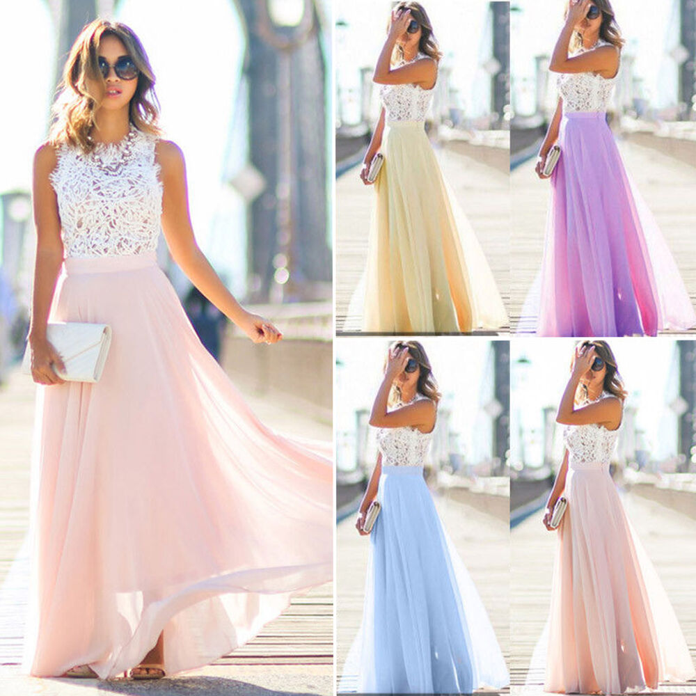 e1c53c242425 Details about Women Lace Long Dress Cocktail Party Evening Formal Wedding  Prom Gown Maxi Dress