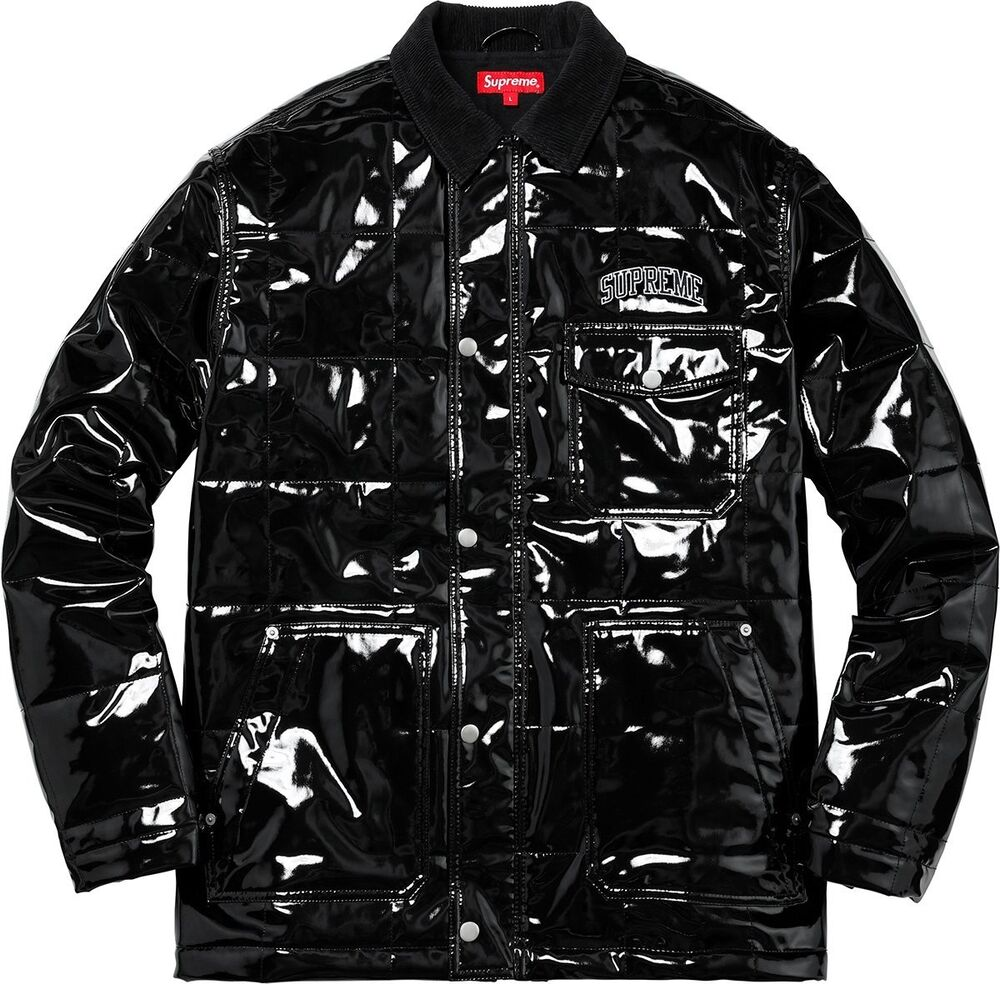 online store 2f63b 18ef8 Details about Supreme Quilted Patent Vinyl Work Jacket Black SS18 Size  Medium