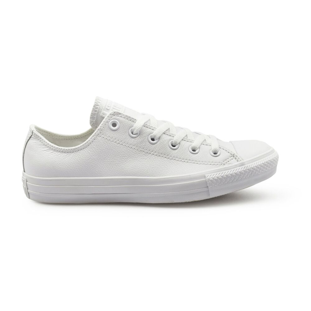 d7e22d4d703 Details about Converse Chuck Taylor All Star Ox Low Top Mono White Leather  Unisex Trainers.