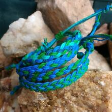 Earth Day Hemp Anklet or Bracelet braided in green blue hippie surfer men women