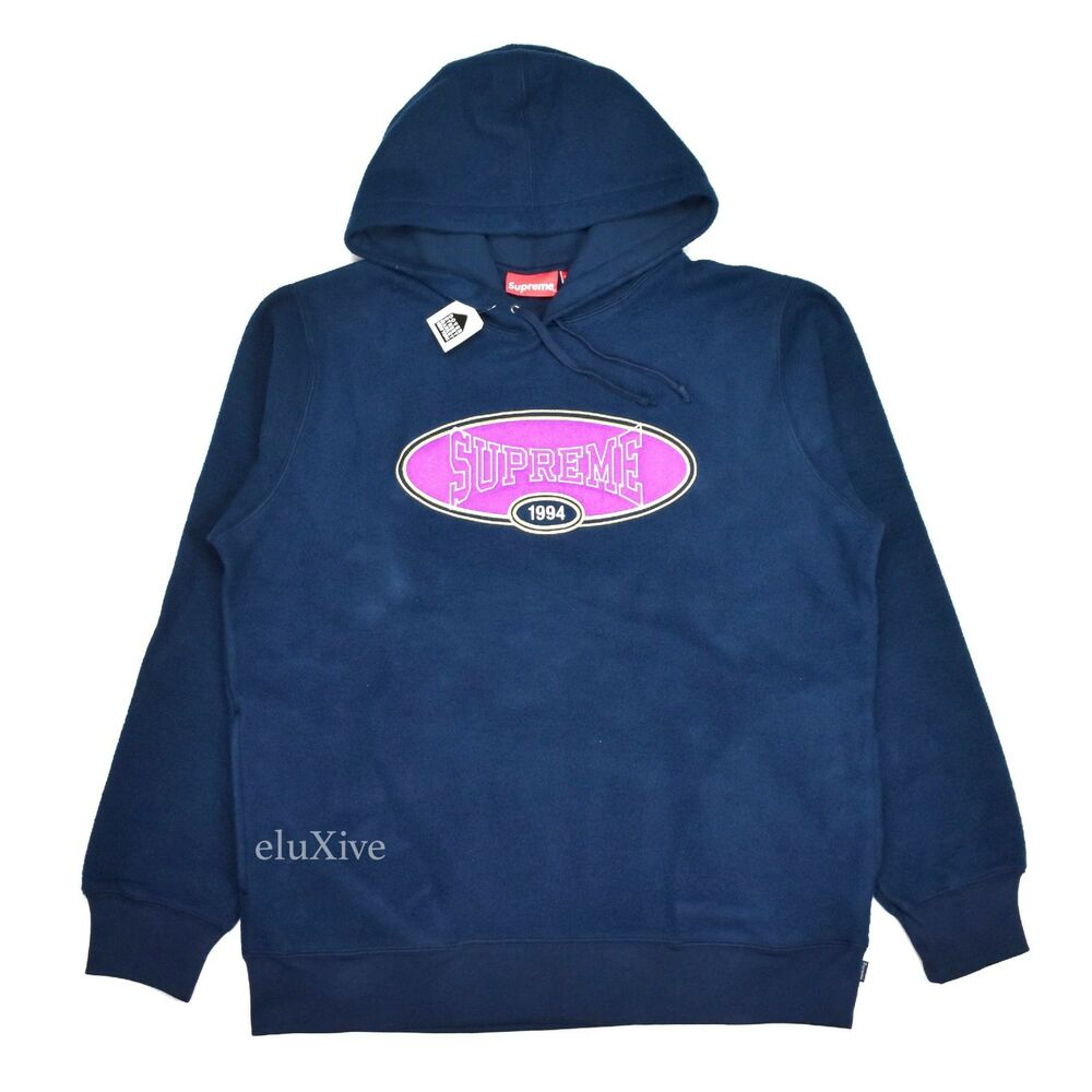 8da3efd73f79 Details about NWT Supreme NY Mens Navy Reverse Fleece Logo Embroidered  Hoodie SS18 L AUTHENTIC