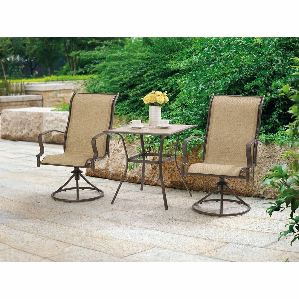 Details about outdoor 3 piece bistro set swivel rocking chairs table patio furniture set