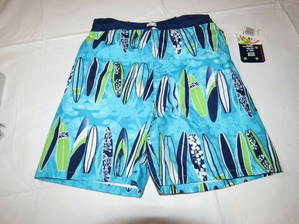 8381f74b2b Details about Boys Youth Mick Mack 6 swim trunks shorts blue surf boards  UPF50+ UV Protection