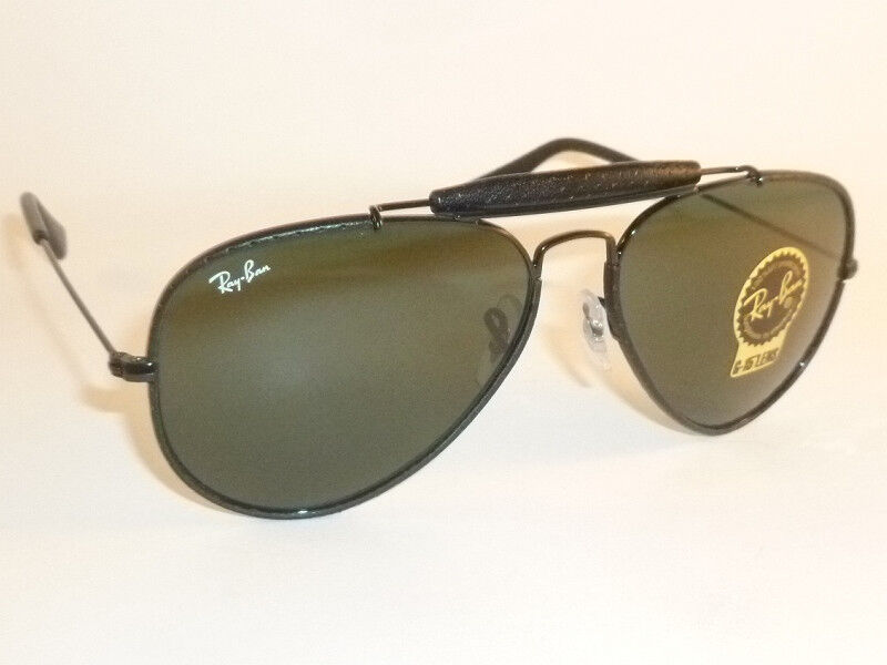 1bb4a6cb82 Details about New RAY BAN Aviator Outdoorsman Black Leather RB 3422Q 9040  G-15 Green Lenses