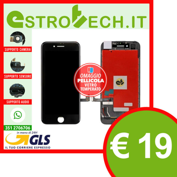 LCD DISPLAY PER APPLE IPHONE 8 PLUS NERO CON RETINA ORIGINALE TIANMA SCHERMO OEM