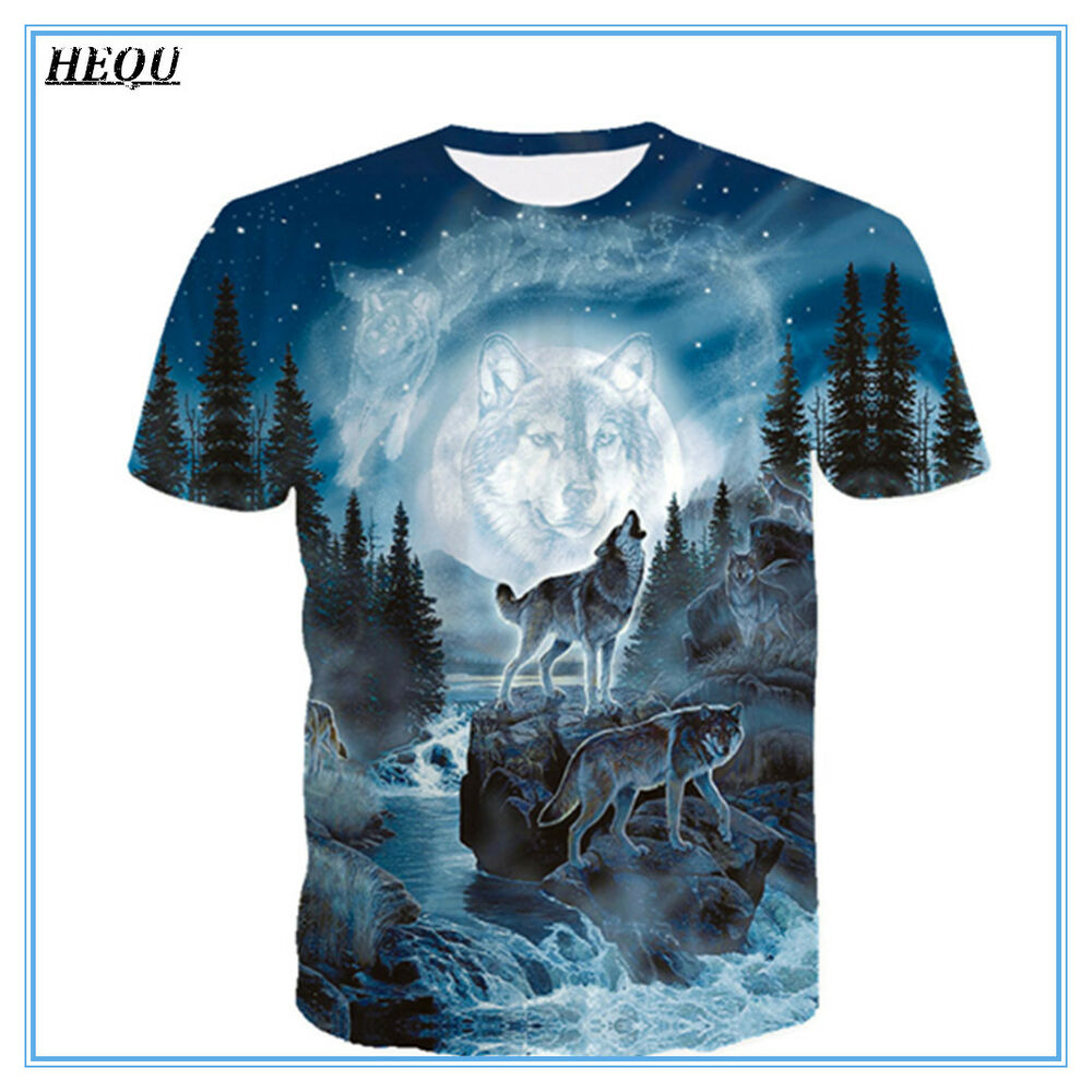 Details about Moon Forest Wolf 3D Print Fashion Men s Casual T-Shirt Short  Sleeve Graphic Tee d38c9df3ccfb
