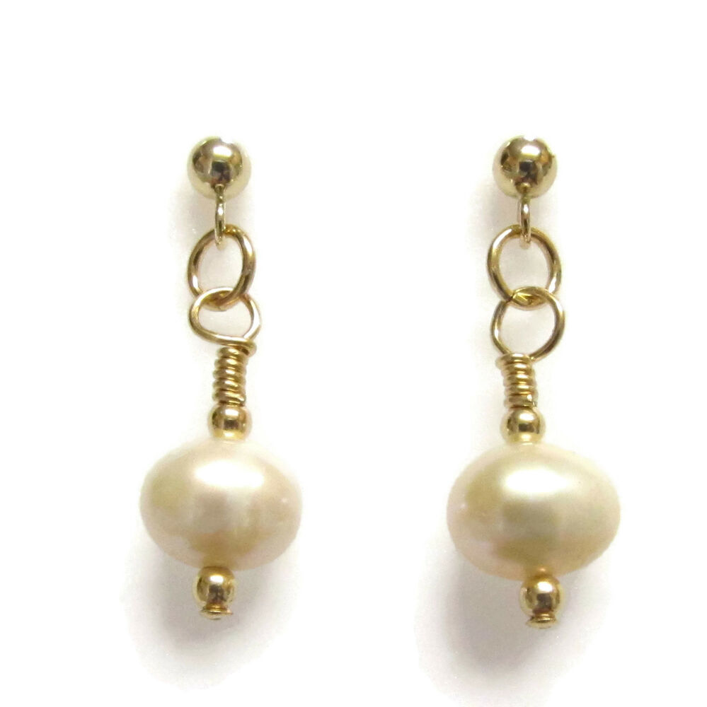 Details About White Pearl Earrings 9ct Gold Beads And Stud With Butterfly Backs