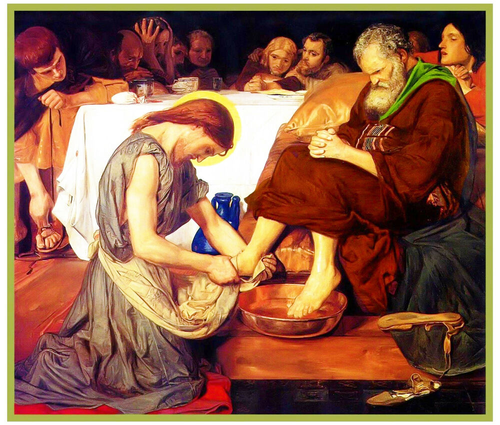 Jesus Washing Peter S Feet Ford Madox Brown Counted Cross Stitch