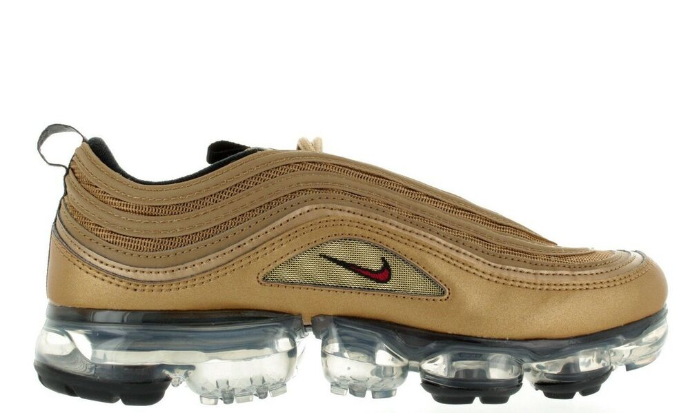 huge discount f2fba 2b22d Details about 2018 MENS NIKE AIR VAPORMAX  97 (GS) AQ2657 700 METALLIC GOLD VARSITY  RED DS NEW