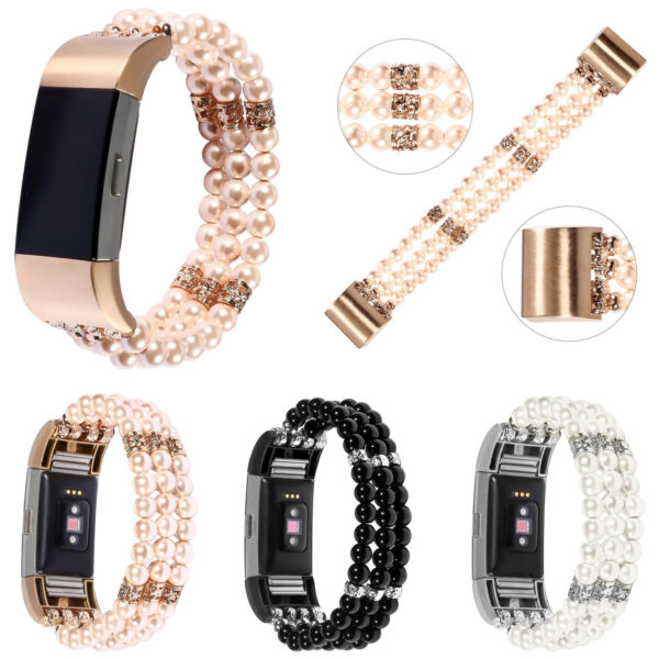 Pearl Beads Chain Strap for Fitbit Charge 2 Watch Band Bling Bracelet Connectors