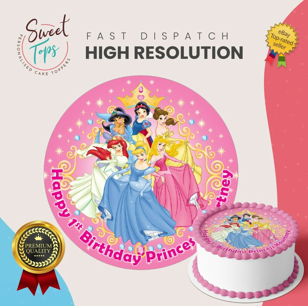 Details About DISNEY PRINCESS EDIBLE ROUND BIRTHDAY CAKE TOPPER DECORATION PERSONALISED