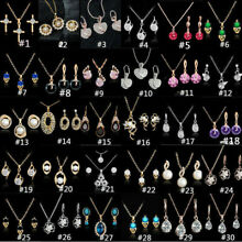 Woman Gold Plated Crystal Pendant Chain Necklace Earrings Jewelry Sets 57 Styles