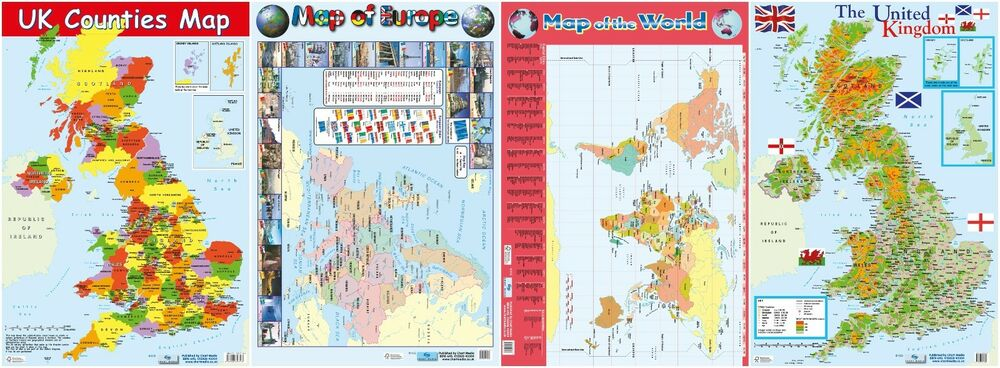 Uk Map Map Of Uk Counties World Europe 4 Posters A2 Size