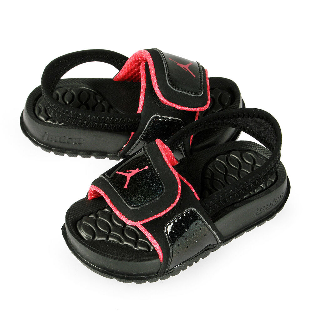 8e510249b3a2 Details about Jordan Hydro 2 Toddlers 487574-009 Black Pink Logo Slide  Sandals Baby Size 7
