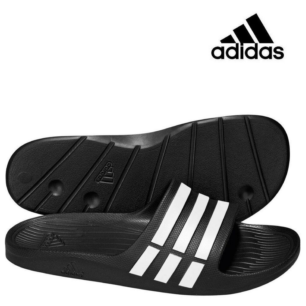 fc35be6b32d9 Details about Mens ADIDAS Duramo Slide Flip Flops Womens Sliders Sandals  Black UK4 - UK15