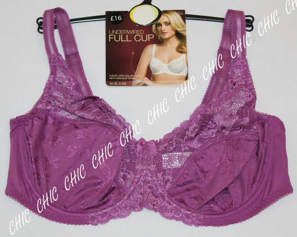 d1b26e9979 M S Women Underwired Floral Lace Full Cup Bra With Non Slip Straps BNWT