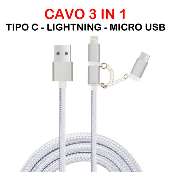 MULTI CHARGING CABLE 3 IN 1 LIGHTNING  / MICRO USB / TIPO C UNIVERSALE SMARTPHON