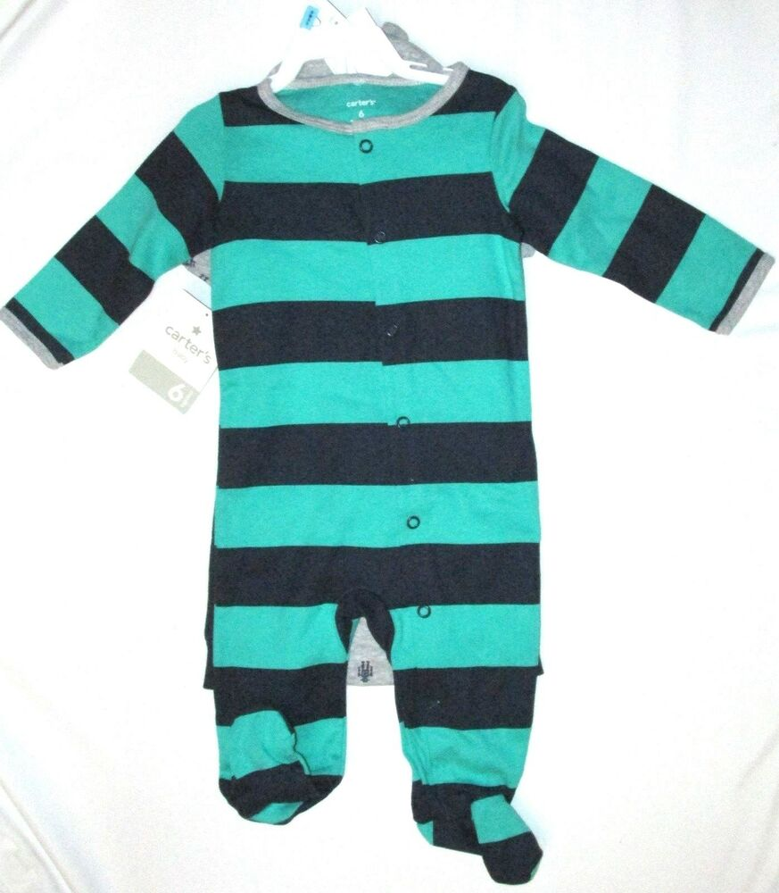 5e64554b8 Carters Boys Bodysuit Pants Cap 6 Months Robot Layette Set Striped ...