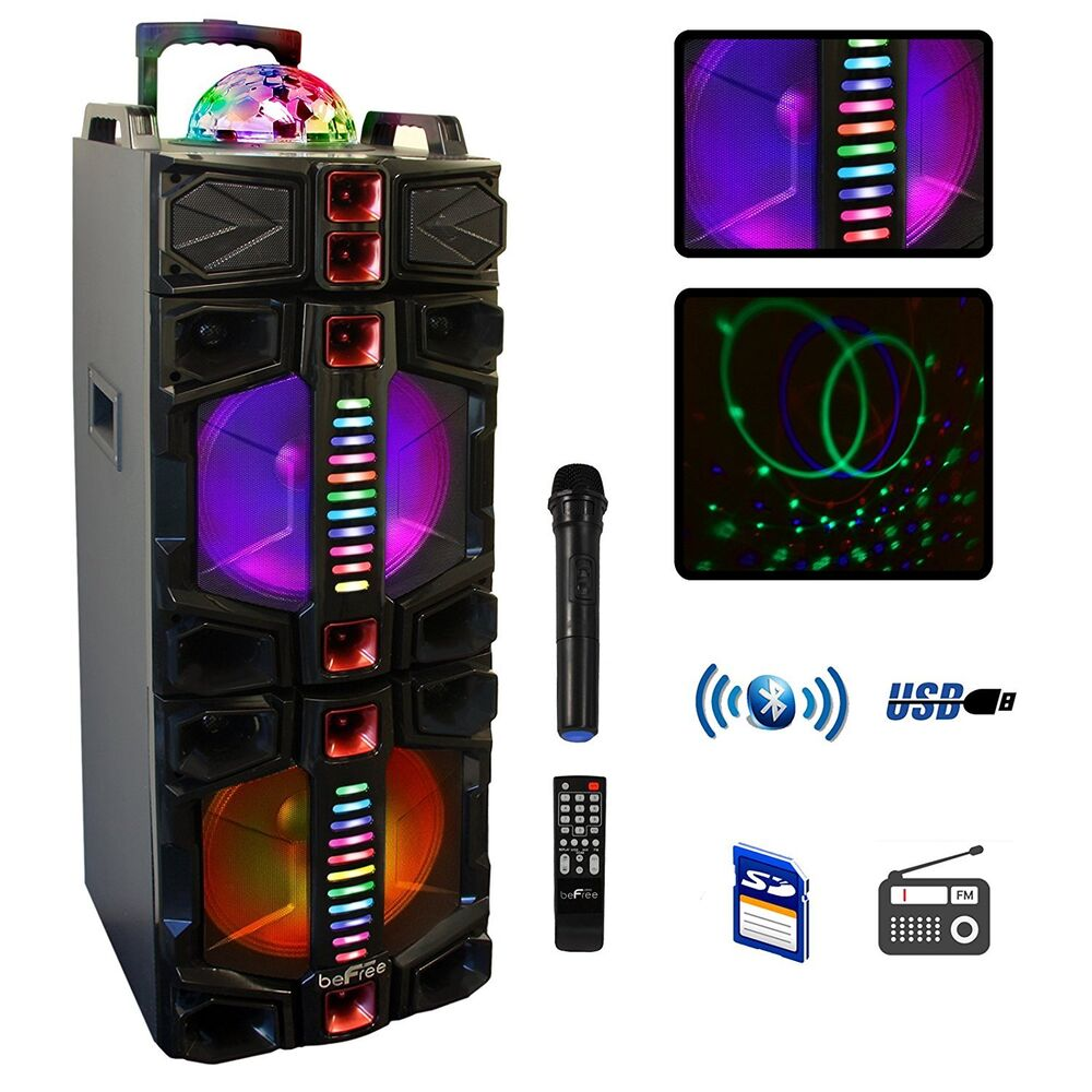 """BEFREE SOUND DUAL 12"""" SUBWOOFER BLUETOOTH PORTABLE PARTY SPEAKER With LIGHTS MIC"""
