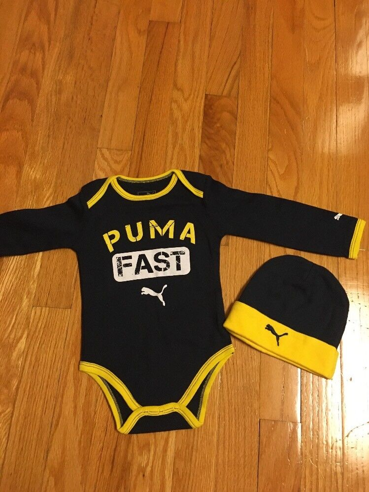 0857d304d02 PUMA Baby Boys Two Piece Bodysuit onesee and Hat Set