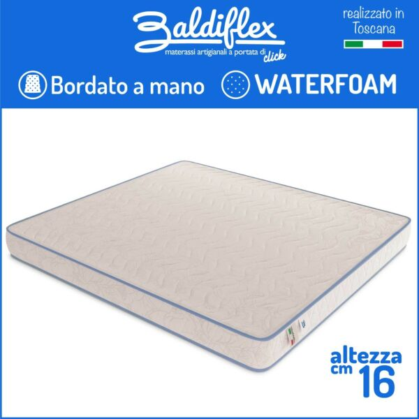 MATERASSO H 16 CM WATERFOAM POLIURETANO ORTOPEDICO BASIC BORDATO ANALLERGICO