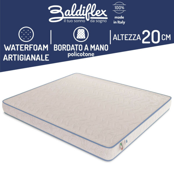 MATERASSO POLIURETANO WATERFOAM H 20 CM ORTOPEDICO BASIC BORDATO ANALLERGICO