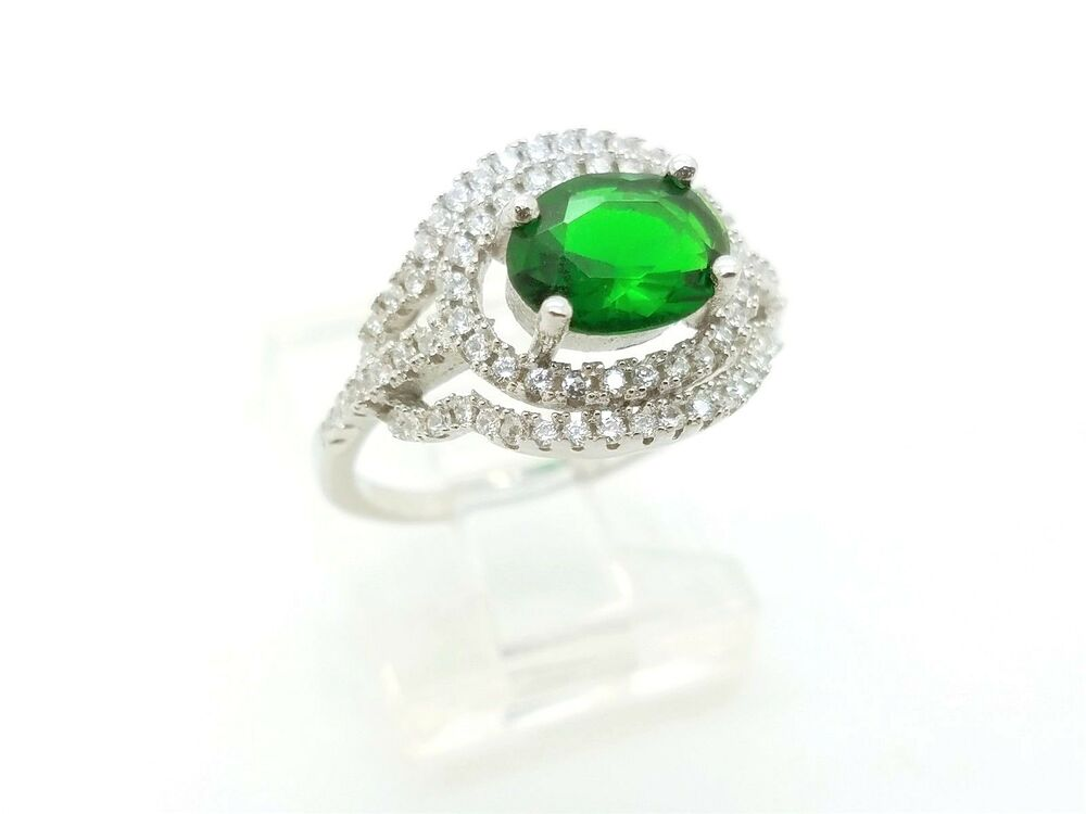 b84ccff5e5685 925 STERLING SILVER GREEN EMERALD WOMEN'S HANDMADE RING 5.75 US ...
