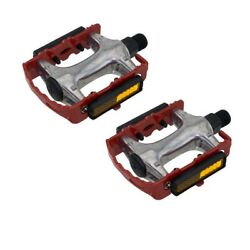 940 Alloy Pedals 9/16'' Red Bicycle Bike Road MTB Cruiser Fixie