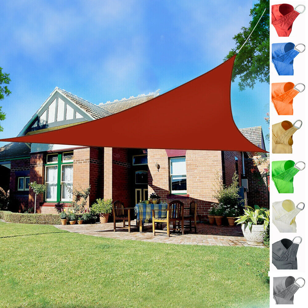 2m Triangle Sun Shade Sail Canopy Patio Garden Awning Shelter With