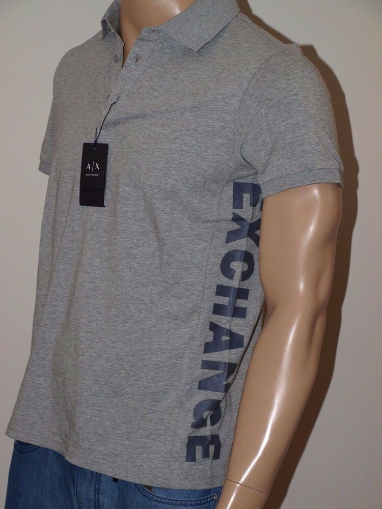 94a702f72bd Details about Armani Exchange Authentic Bold Logo Stretch Polo Shirt NWT