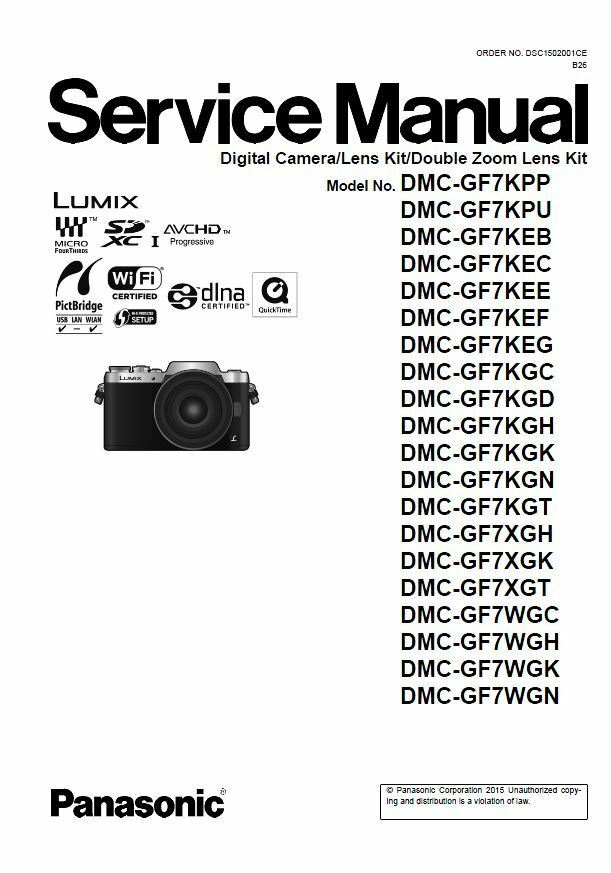 panasonic lumix dmc gf7 gf7k gf7x gf7w service manual repair guide rh ebay com Panasonic DMC TZ3 Charger Panasonic Lumix DMC-GF2