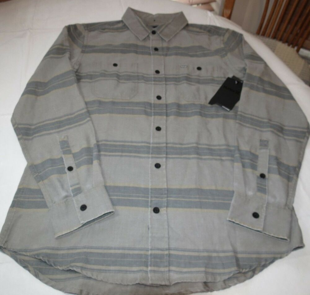 Mens Hurley Country Line Mvs0004680 05k L Lg Long Sleeve Button Up