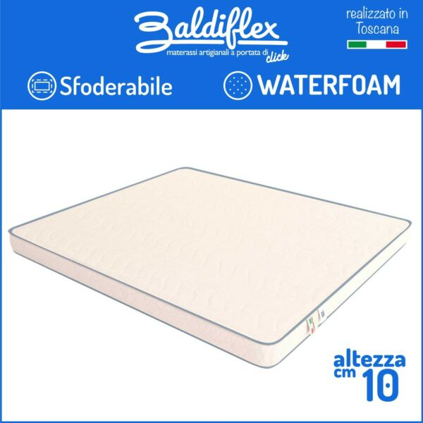 MATERASSO ORTOPEDICO H 10 CM WATERFOAM POLIURETANO BASIC SFODERABILE ANALLERGICO