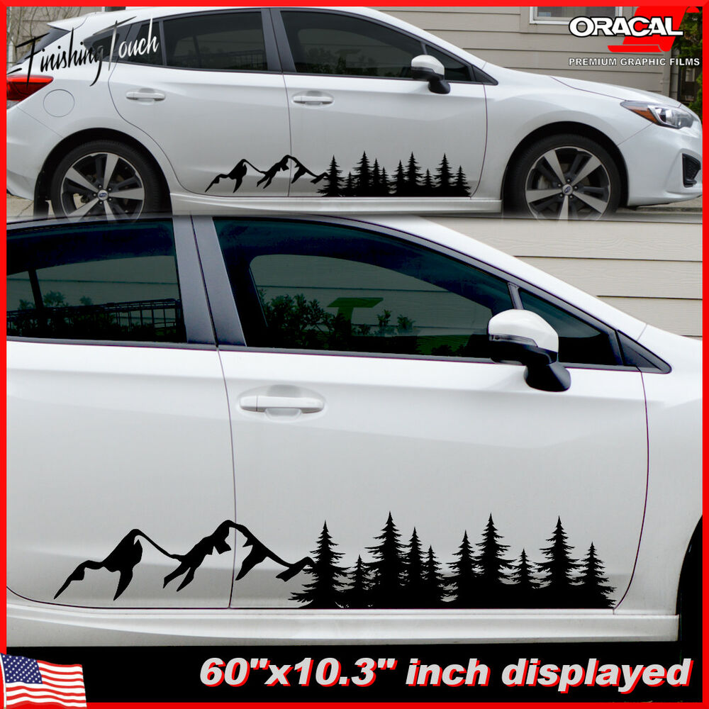 Details about tree mountain decal forest vinyl custom nature graphic camper rv trailer truck