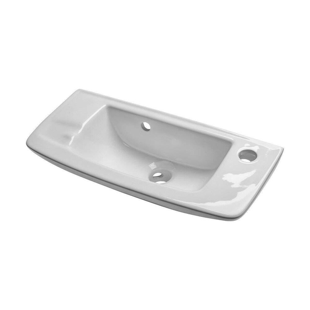 White Bathroom Sink Faucet Hole Soap Dish Small Sink Wall Mount Overflow Ceramic