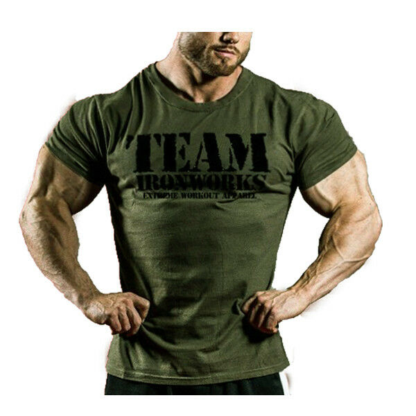 dd380529c9c3d Details about MENS VINTAGE MILITARY GREEN COTTON BODYBUILDING T-SHIRT GYM  CLOTHING TOP GASP
