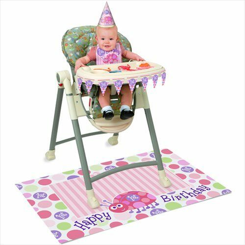 Details About LADYBUG 1st BIRTHDAY HIGH CHAIR DECORATING KIT First Party Supplies Pink Girl