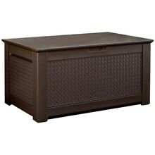 Rubbermaid Patio Deck Storage Box Bench 93 Gal. Easy Lift Lids Resin Brown