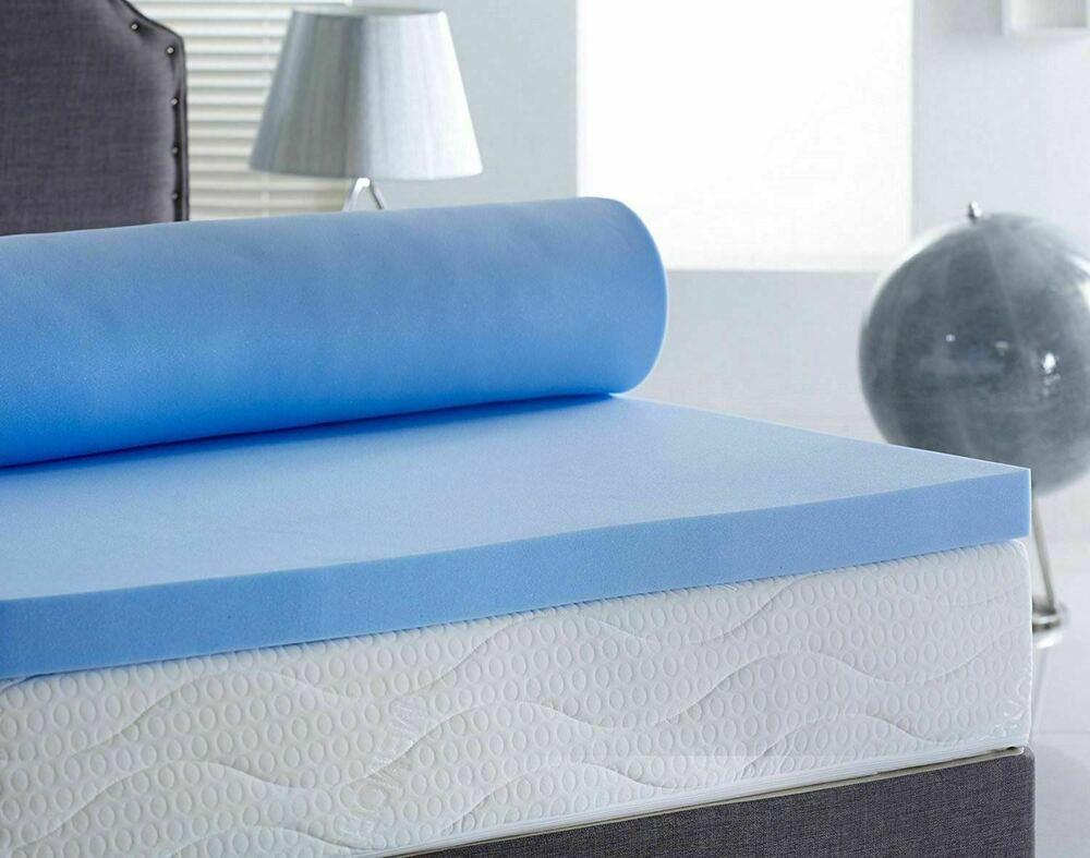 Cool Blue Memory Foam Mattress Topper Zip Cover For Easy
