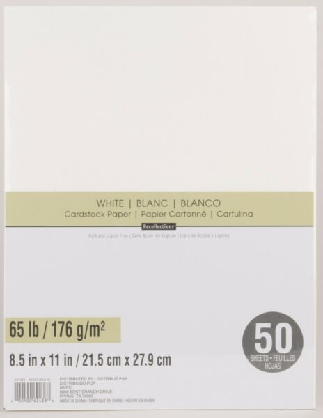 Recollections WHITE Cardstock Paper 8.5