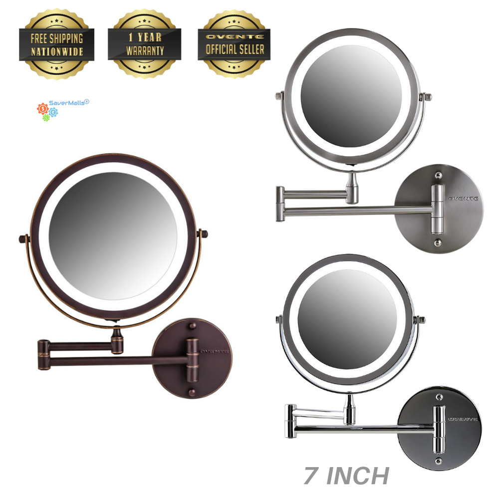 Ovente 7 Quot Wall Mount Led Lighted Magnifying Makeup Mirror