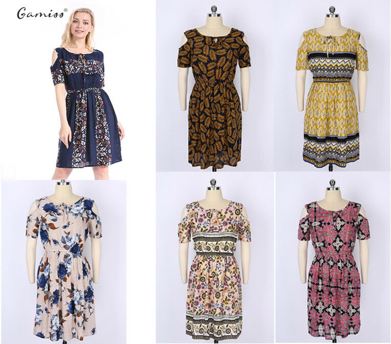 35c75a296747c Details about Gamiss Womens Mini Ladies Dress Floral Print Cold Shoulder  Summer Beach Holiday
