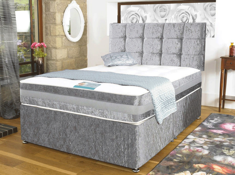 Cheap Crushed Velvet Divan Bed With Under Bed Storage